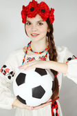 Young Ukrainian woman with ball — Stock Photo