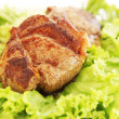 Steak with  lettuce — Stock Photo