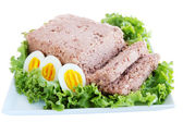 Pate with eggs, isolated — Stock Photo