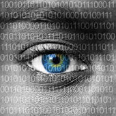 Blue eye extreme close up and binary numbers — Stock Photo
