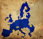 Map of European Union countries on vintage paper — Foto de Stock