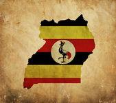 Vintage map of Uganda on grunge paper — Stock Photo
