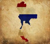 Mapa vintage de Tailandia en grunge de papel — Foto de Stock