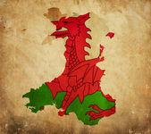 винтаж карта уэльса на бумаге гранж — Стоковое фото