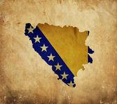 Grunge kağıt üzerinde Vintage harita Bosna Hersek — Stok fotoğraf