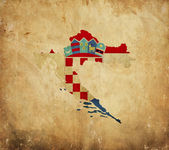 Vintage map of Croatia on grunge paper — Stock Photo