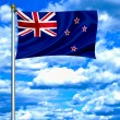New Zealand waving flag against blue sky — Stock Photo