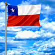 Chile waving flag against blue sky — Stock Photo
