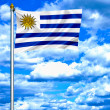 Uruguay waving flag against blue sky - Foto de Stock
