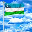 Foto Stock: Uzbekistwaving flag against blue sky