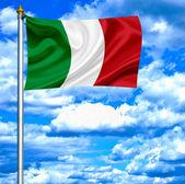 Italy waving flag against blue sky — Stock Photo