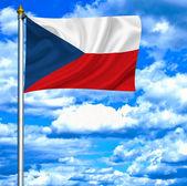 Czech Republicwaving flag against blue sky — Stock Photo