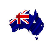 Map of Australia with waving flag isolated on white — Stock Photo