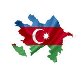 Map of Azerbaijan with waving flag isolated on white — Stock Photo