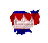 Map of Cambodia with waving flag isolated on white — Stock Photo