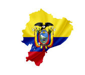 Map of Ecuador with waving flag isolated on white — Stock Photo