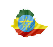 Map of Ethiopia with waving flag isolated on white — Stock Photo