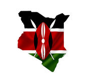 Map of Kenya with waving flag isolated on white — Stock Photo