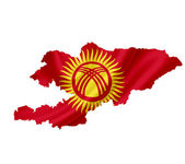 Map of Kyrgyzstan with waving flag isolated on white — Stock Photo
