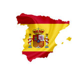 Map of Spain with waving flag isolated on white — Stock Photo