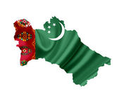 Map of Turkmenistan with waving flag isolated on white — Stock Photo