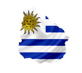 Map of Uruguay with waving flag isolated on white — Stock Photo