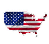 Map of United States of America with waving flag isolated on whi — Stock Photo