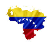 Map of Venezuela with waving flag isolated on white — Stock Photo