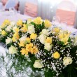 Flower decoration on wedding table — Stock Photo