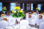 Fancy table set for a wedding lucnh — Stock Photo