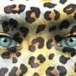 Human face with animal patterns - Save endangered species concep — Stock Photo