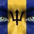 Humface painted with flag of Barbados — Stockfoto #11332083