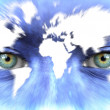 Human face with map of world - Speed of life concept — Stock Photo #11334170