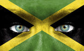 Human face painted with flag of Jamaica — Stock Photo