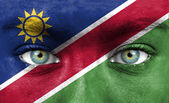 Human face painted with flag of Namibia — Stock Photo
