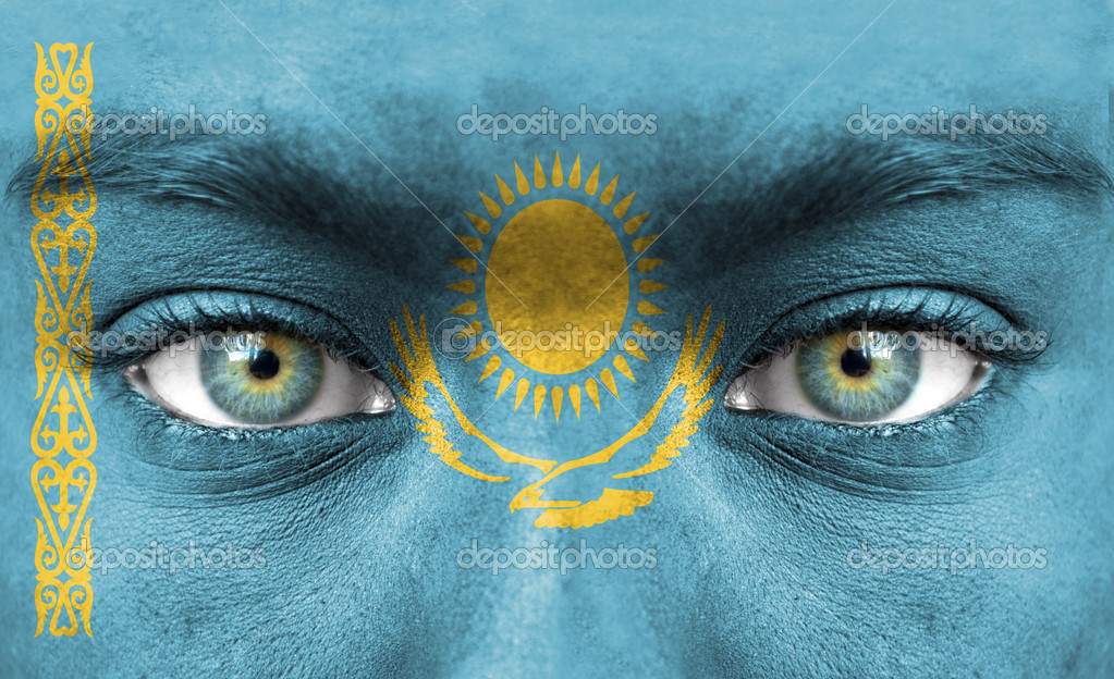 Human face painted with flag of Kazakhstan — Stock Photo #11332869