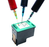 Three syringes in ink catridge — 图库照片