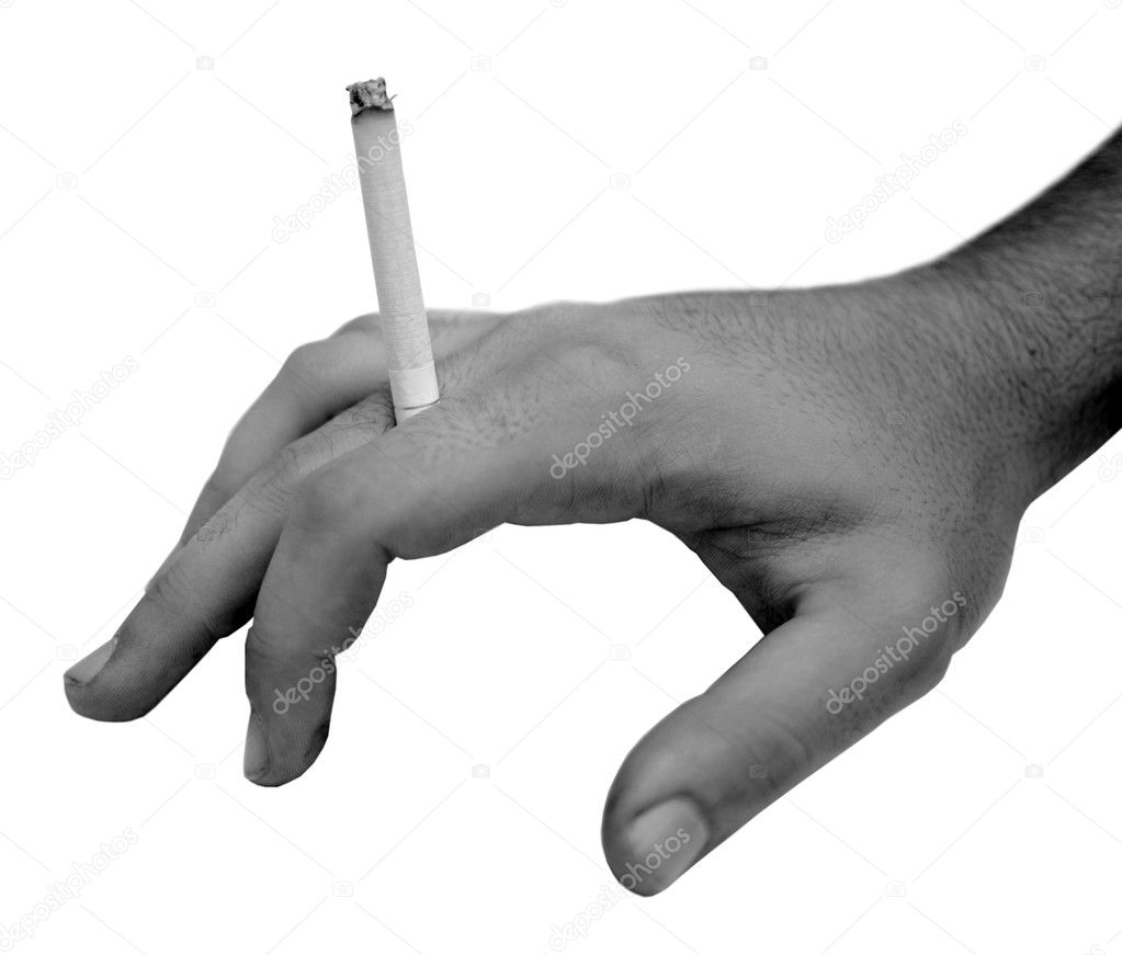 Human hand holding cigarette in black and white — Stock Photo #11428237