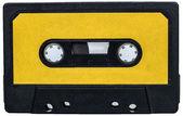 Gula vintage retro cassete tejp isolerad på vit — Stockfoto