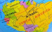 South America macro detail on globe — Stock Photo