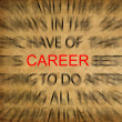 Blured text on vintage paper with focus on CAREER — Stock Photo