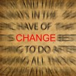 Blured text on vintage paper with focus on CHANGE — Stockfoto