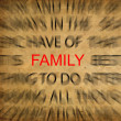 Blured text on vintage paper with focus on FAMILY - Stok fotoraf