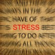 Blured text on vintage paper with focus on STRESS — Stock fotografie