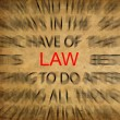 Blured text on vintage paper with focus on LAW — Stock Photo