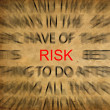 Blured text on vintage paper with focus on RISK — Stock Photo