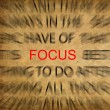 Blured text on vintage paper with focus on FOCUS — Stok Fotoğraf #11488597