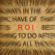 Blured text on vintage paper with focus on ROI ( Return of inves — Stock Photo #11488687