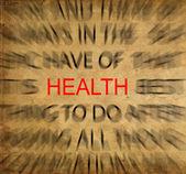 健康に焦点を当てるとビンテージの紙の上 blured テキスト — ストック写真