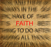 Blured text on vintage paper with focus on FAITH — 图库照片